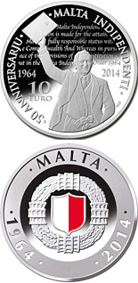 10 euro coin 50th Anniversary of Malta Independence | Malta 2014