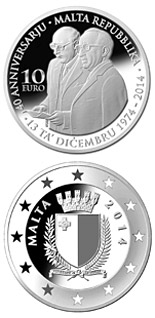 10 euro coin 40th Anniversary of the Republic of Malta | Malta 2014