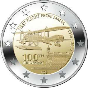 Image of 2 euro coin – 100th Anniversary of the First Flight of Malta | Malta 2015