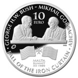 Image of 10 euro coin - Bush-Gorbachev Malta Summit  | Malta 2015.  The Silver coin is of Proof quality.