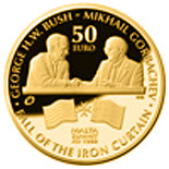 Image of 50 euro coin - Bush-Gorbachev Malta Summit  | Malta 2015.  The Gold coin is of Proof quality.