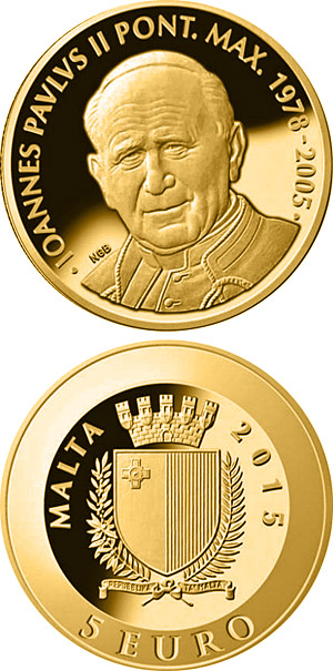 Image of 5 euro coin - Pope John Paul II | Malta 2015.  The Gold coin is of Proof quality.