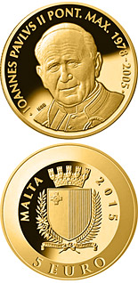 5 euro coin Pope John Paul II | Malta 2015