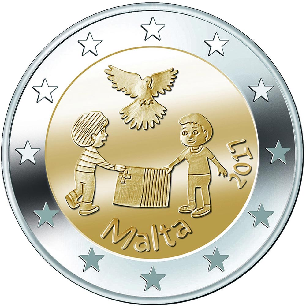 Image of 2 euro coin – Peace  | Malta 2017