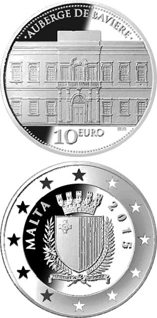 Image of 10 euro coin - Auberge de Baviere | Malta 2015.  The Silver coin is of Proof quality.
