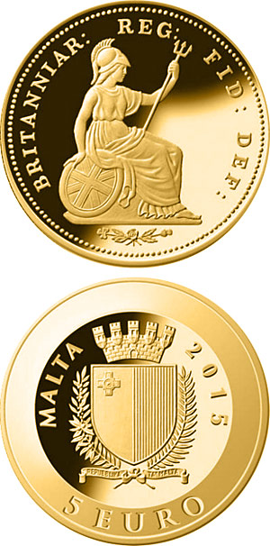 Image of 5 euro coin - One-third farthing | Malta 2015.  The Gold coin is of Proof quality.