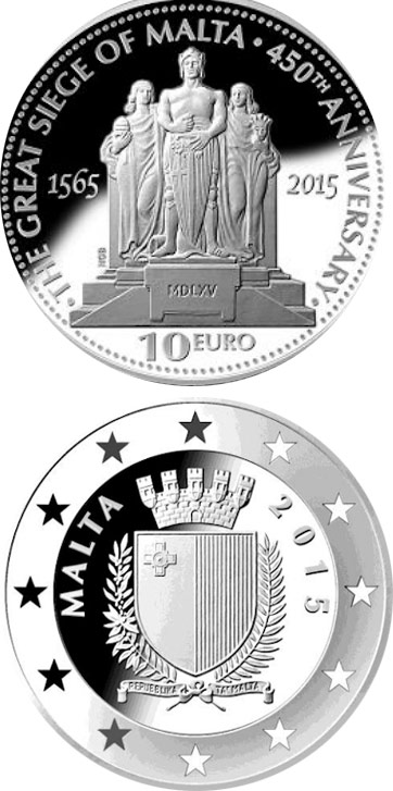 Image of 10 euro coin - 450th Anniversary of the Great Siege of Malta  | Malta 2015.  The Silver coin is of Proof quality.