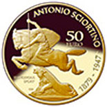 Image of 50 euro coin - Antonio Sciortino (1879-1947) | Malta 2016.  The Gold coin is of Proof quality.