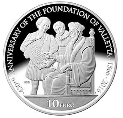 Image of 10 euro coin - 450th anniversary of the foundation of Valletta  | Malta 2016.  The Silver coin is of Proof quality.