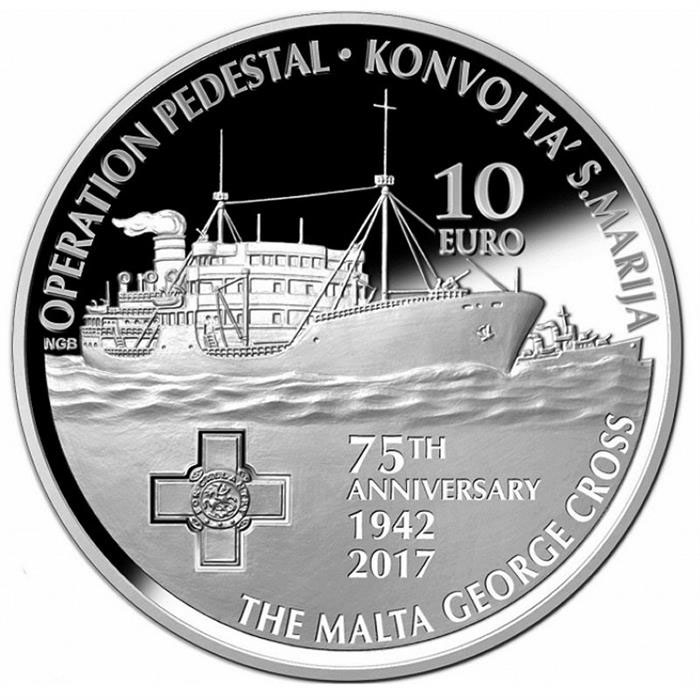 Image of 10 euro coin - Santa Maria Convoy 75 Years | Malta 2017.  The Silver coin is of Proof quality.