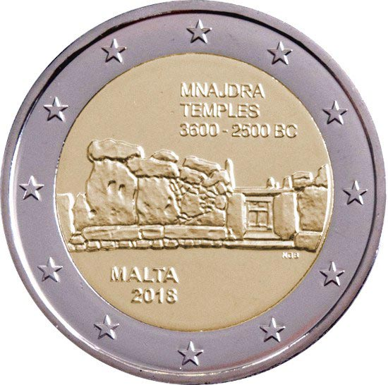Image of 2 euro coin – Mnajdra Temples | Malta 2018