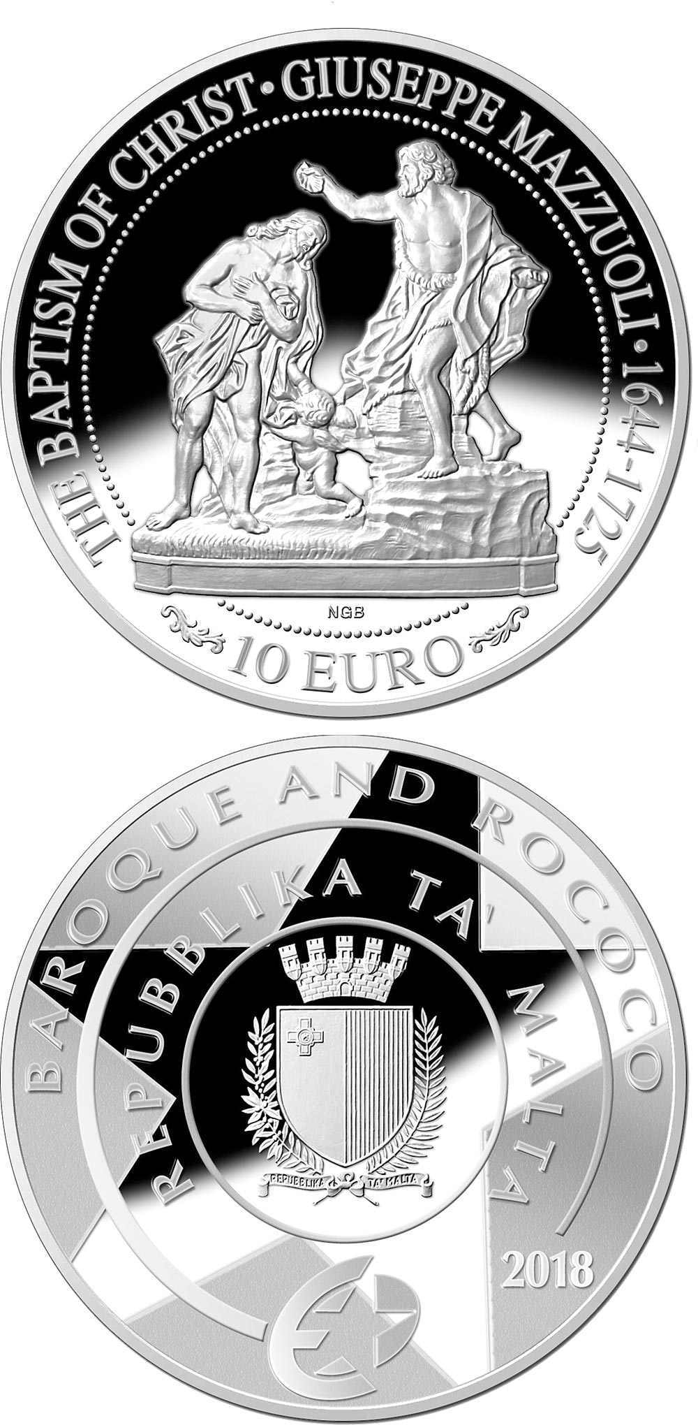 Image of 10 euro coin - Baptism of Christ | Malta 2018.  The Silver coin is of Proof quality.