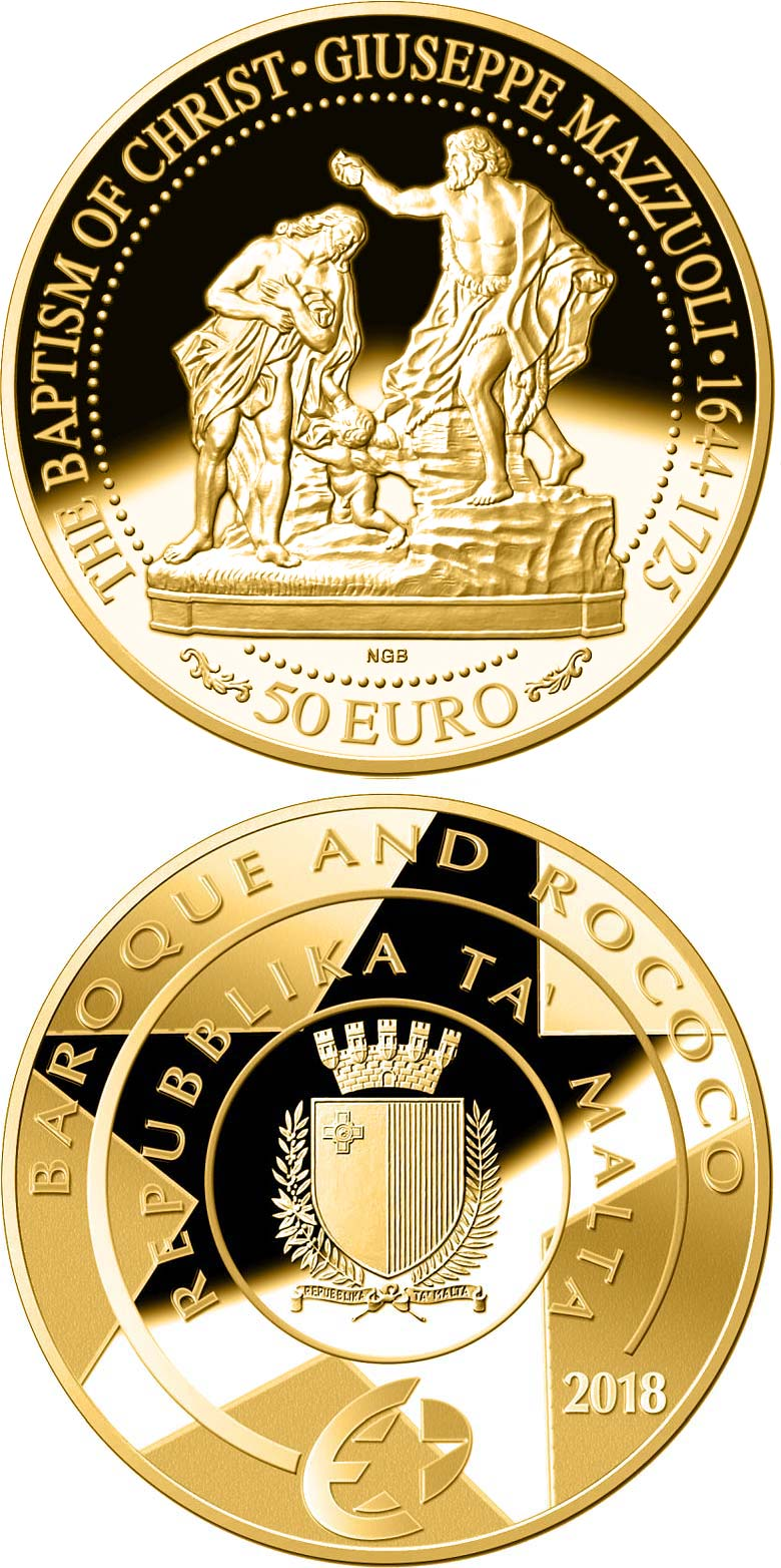 Image of 50 euro coin - Baptism of Christ | Malta 2018.  The Gold coin is of Proof quality.