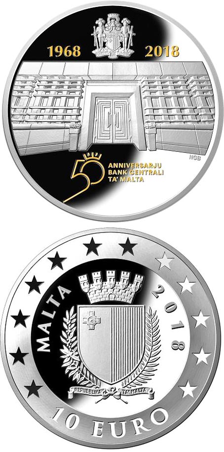 Image of 10 euro coin - 50th Anniversary of the Central Bank of Malta  | Malta 2018.  The Silver coin is of Proof quality.