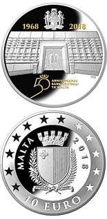 10 euro coin 50th Anniversary of the Central Bank of Malta  | Malta 2018
