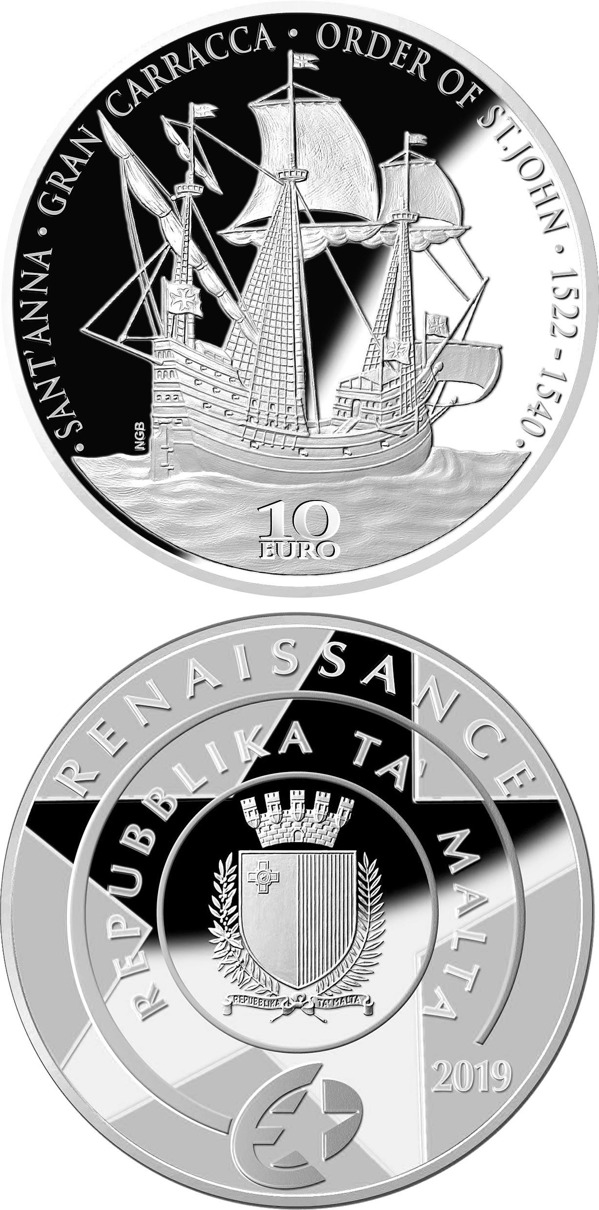 Image of 10 euro coin - The Gran Carracca of the Order of St John | Malta 2019.  The Silver coin is of Proof quality.