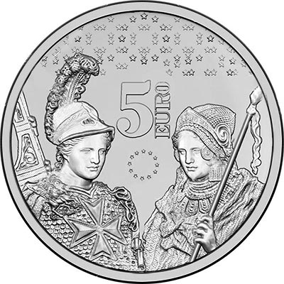 Image of 5 euro coin - Ten years of the euro in Malta | Malta 2018.  The Copper–Nickel (CuNi) coin is of BU quality.