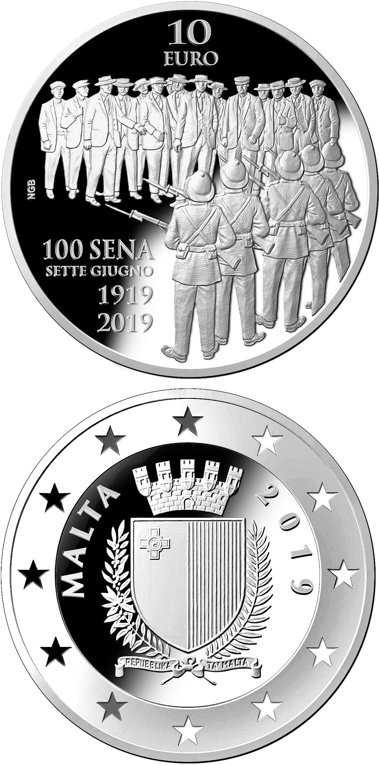 Image of 10 euro coin - Centenary of the Sette Giugno Riots 1919 | Malta 2019.  The Silver coin is of Proof quality.