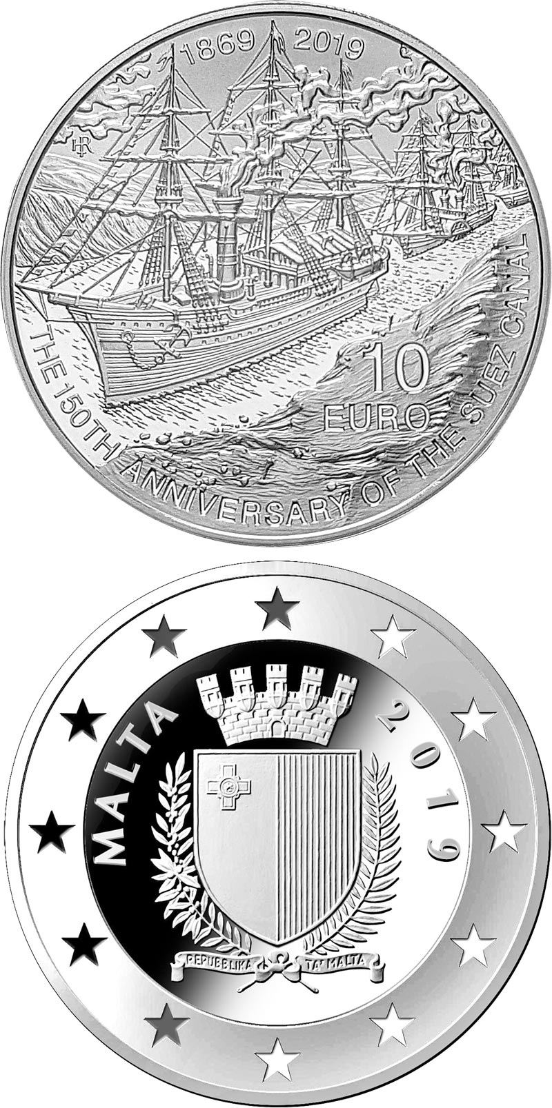 Image of 10 euro coin - 150th Anniversary of the Suez Canal  | Malta 2019.  The Silver coin is of Proof quality.