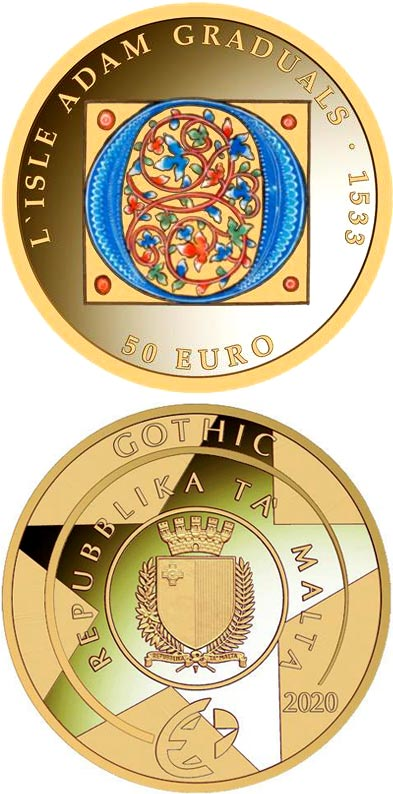 Image of 50 euro coin - L'Isle Adam Graduals | Malta 2020.  The Gold coin is of Proof quality.