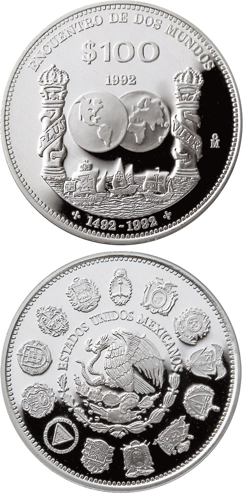Image of 100 pesos coin – Columnaria  | Mexico 1992.  The Silver coin is of Proof quality.