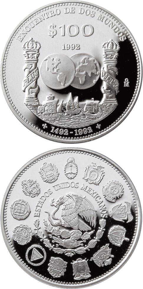 100 Pesos Coin Columnaria Mexico 1992