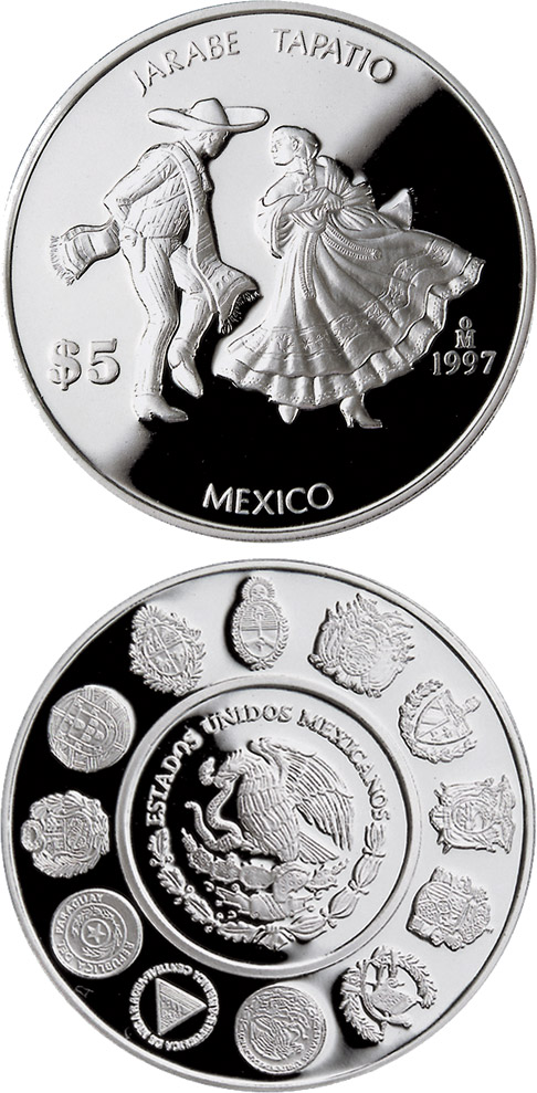 Image of 5 pesos coin - Jarabe Tapatío  | Mexico 1997.  The Silver coin is of Proof quality.