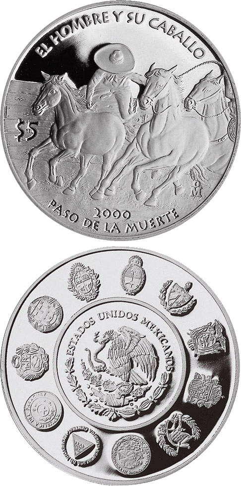 Image of 5 pesos coin - The Ride of the Death  | Mexico 2000.  The Silver coin is of Proof quality.