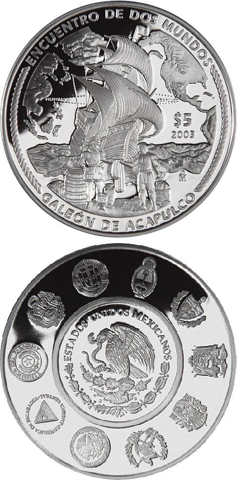 Image of 5 peso coin Acapulco galleon  | Mexico 2003.  The Silver coin is of Proof quality.