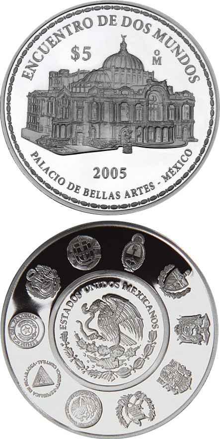 Image of Architecture and Monuments – Palace of Fine Arts  – 5 peso coin Mexico 2005.  The Silver coin is of Proof quality.