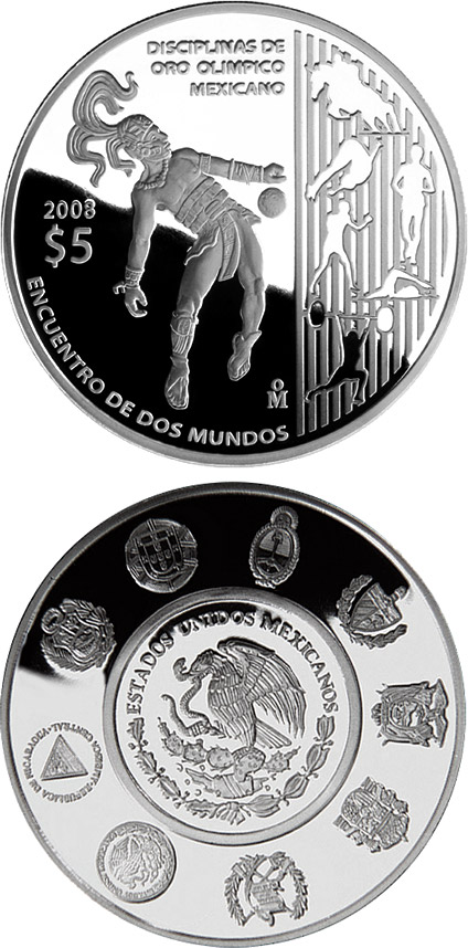 Image of 5 pesos coin - The Olympic Games - Olympic Gold Disciplines | Mexico 2008.  The Silver coin is of Proof quality.