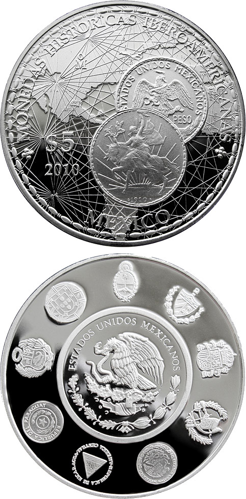 Image of 5 pesos coin - Historic Ibero-American Coins | Mexico 2010.  The Silver coin is of Proof quality.