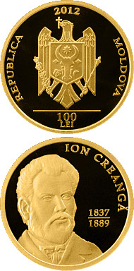 Image of 100 leu coin - Ion Creangă | Moldova 2012.  The Gold coin is of Proof quality.