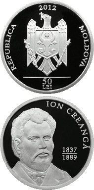 Image of 50 leu coin Ion Creangă | Moldova 2012.  The Silver coin is of Proof quality.