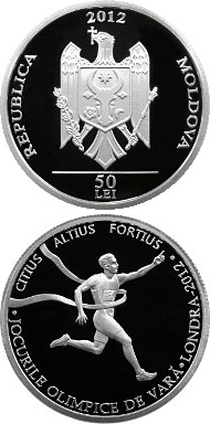 Image of 50 leu coin The 2012 Summer Olympic Games | Moldova 2012.  The Silver coin is of Proof quality.