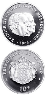 10 euro coin 80th Birthday of Prince Rainier III.  | Monaco 2003