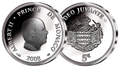 Image of a coin 5 euro | Monaco | 50th Birthday of Prince Albert II.  | 2008