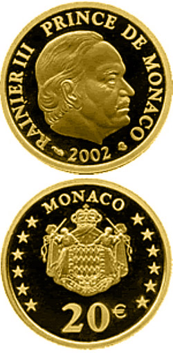 Image of 20 euro coin - Prince Rainier III. | Monaco 2002.  The Gold coin is of Proof quality.