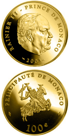 Image of 100 euro coin - 80th birthday of Prince Rainier III.  | Monaco 2003.  The Gold coin is of Proof quality.