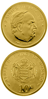 10 euro Death of Prince Rainier III.  - 2005 - Series: Gold euro coins - Monaco