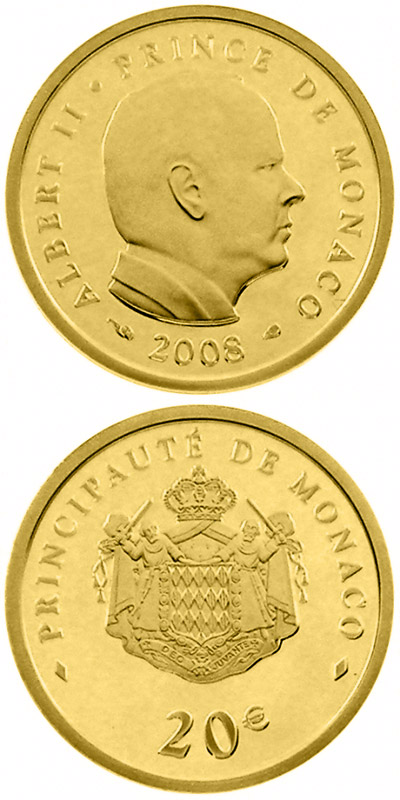 Image of a coin 20 euro | Monaco | 50th birthday of Prince Albert II.  | 2008