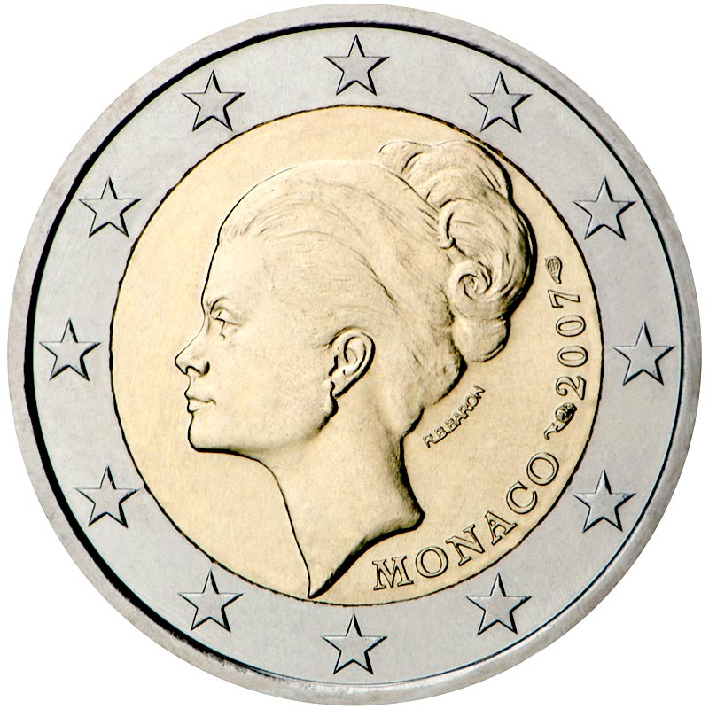 Image of 2 euro coin - 25th Anniversary of the Death of Grace Kelly | Monaco 2007