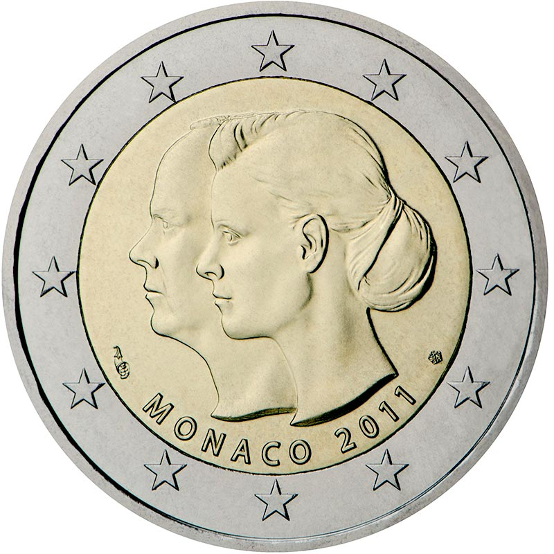 Image of 2 euro coin – The wedding of Prince Albert and Charlene Wittstock  | Monaco 2011