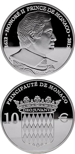 Image of 10 euro coin - Honoré II, Prince of Monaco | Monaco 2012.  The Silver coin is of Proof quality.