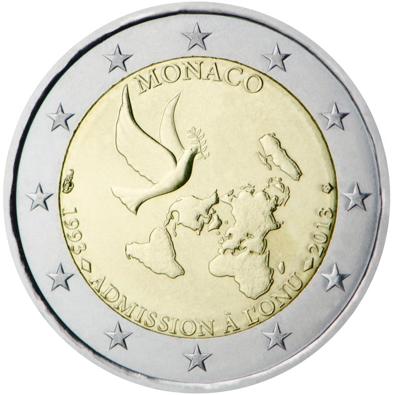 Image of 2 euro coin - 20 years membership of the United Nations | Monaco 2013
