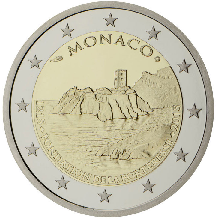 2 euro | Monaco | 800th Anniversary of the Construction of the first Fortress on the Rock 1215 | 2015