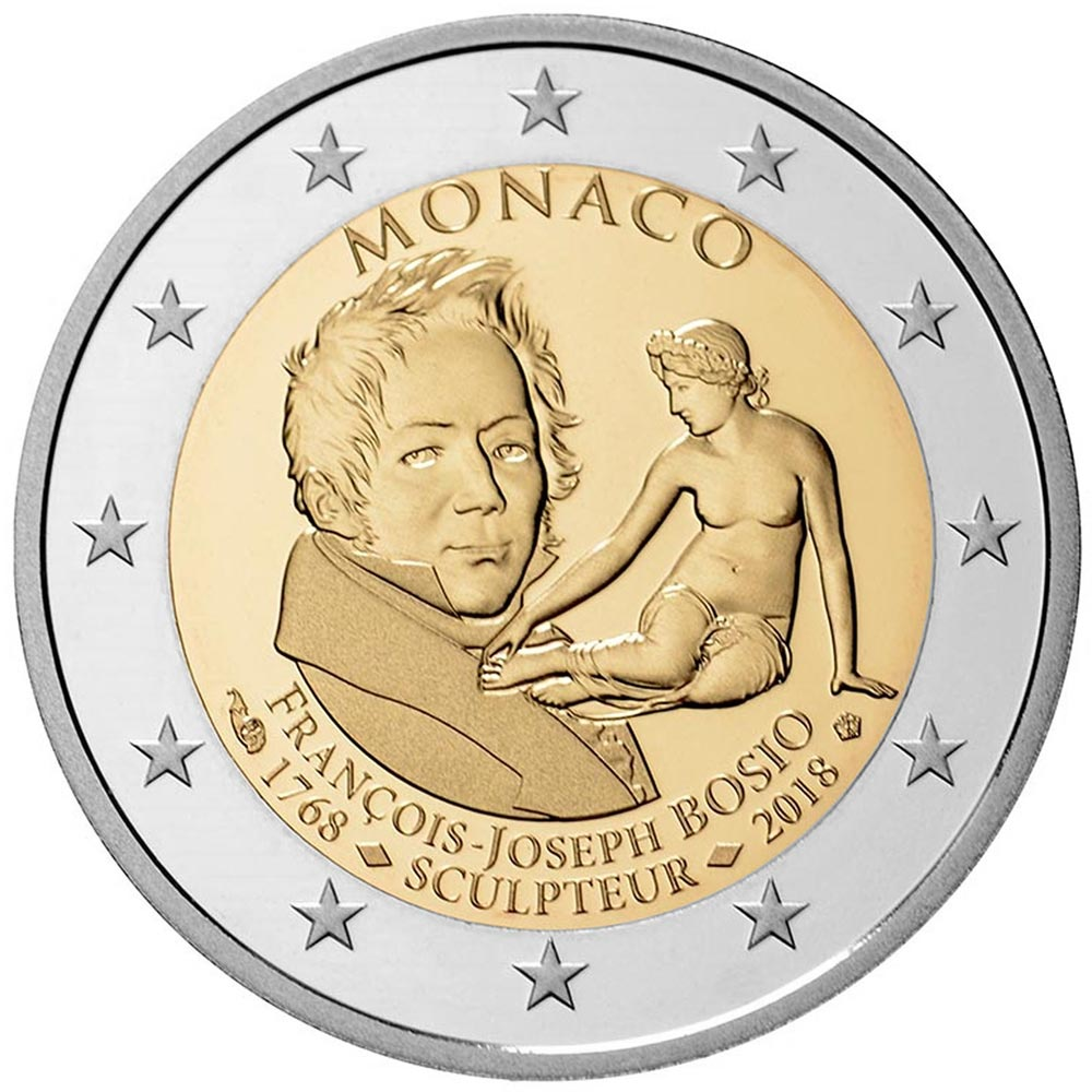 Image of 2 euro coin - 250th Anniversary of the Birth of François Joseph Bosio | Monaco 2018