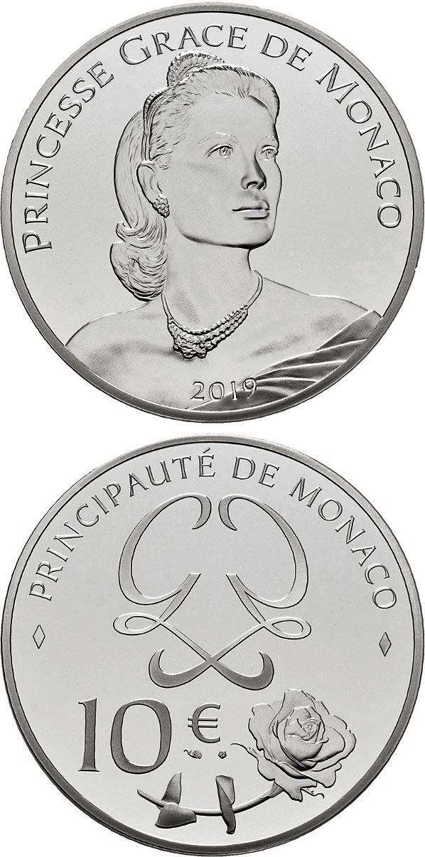 Image of 10 euro coin - Princess Grace De Monaco | Monaco 2019.  The Silver coin is of Proof quality.