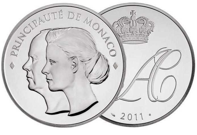 Image of 10 euro coin - Albert & Charlene | Monaco 2011.  The Silver coin is of Proof quality.