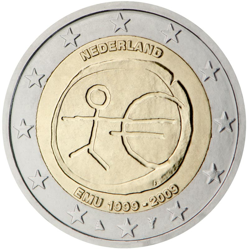Image of 2 euro coin – 10th Anniversary of the Introduction of the Euro | Netherlands 2009